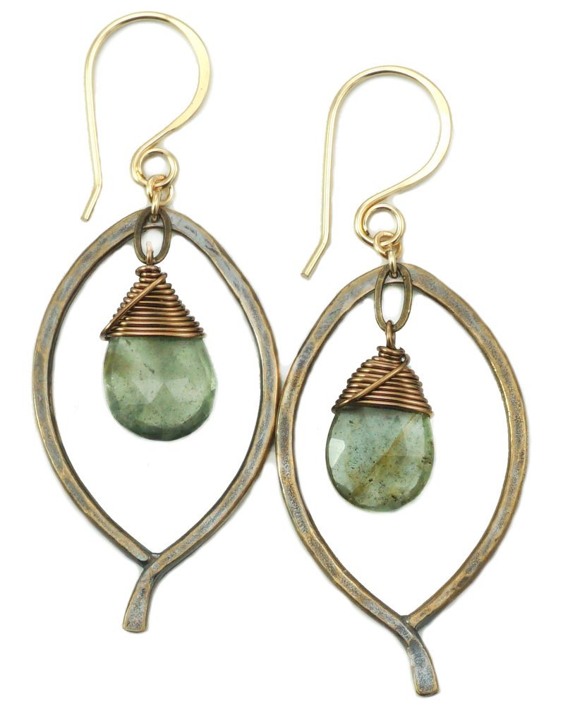 Leaf Drop Earrings - Bronze