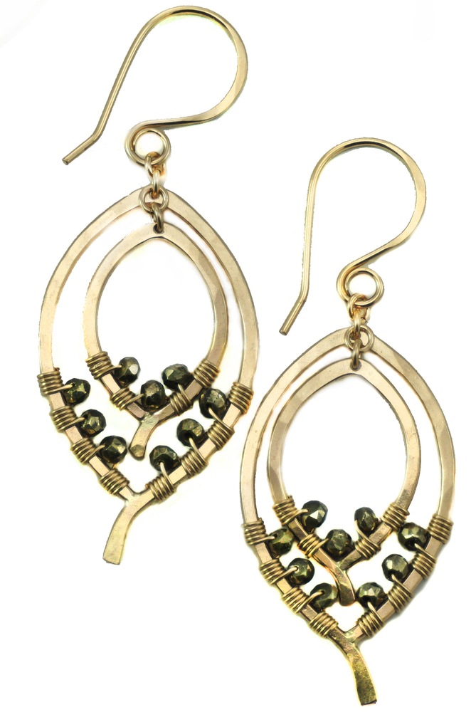 Double Leaf Earring 1/2 Wrapped