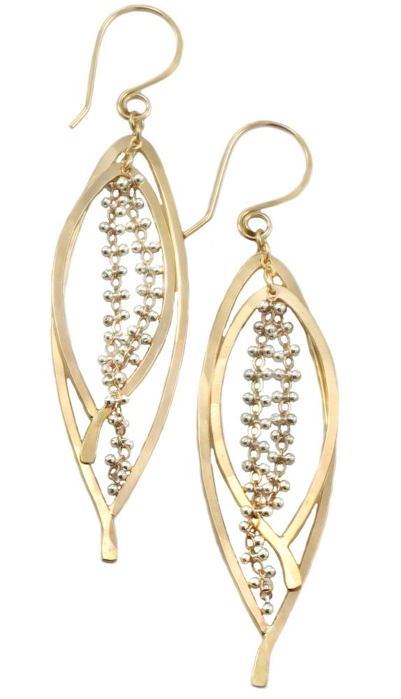 Double Bay Leaf Caviar Earring