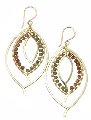 Triple Leaf Earring Wrapped - YGF