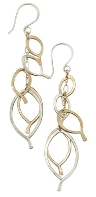 Leaf Cluster Earrings - gold and silver