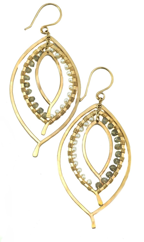 Triple Leaf Earring Wrapped - YGF