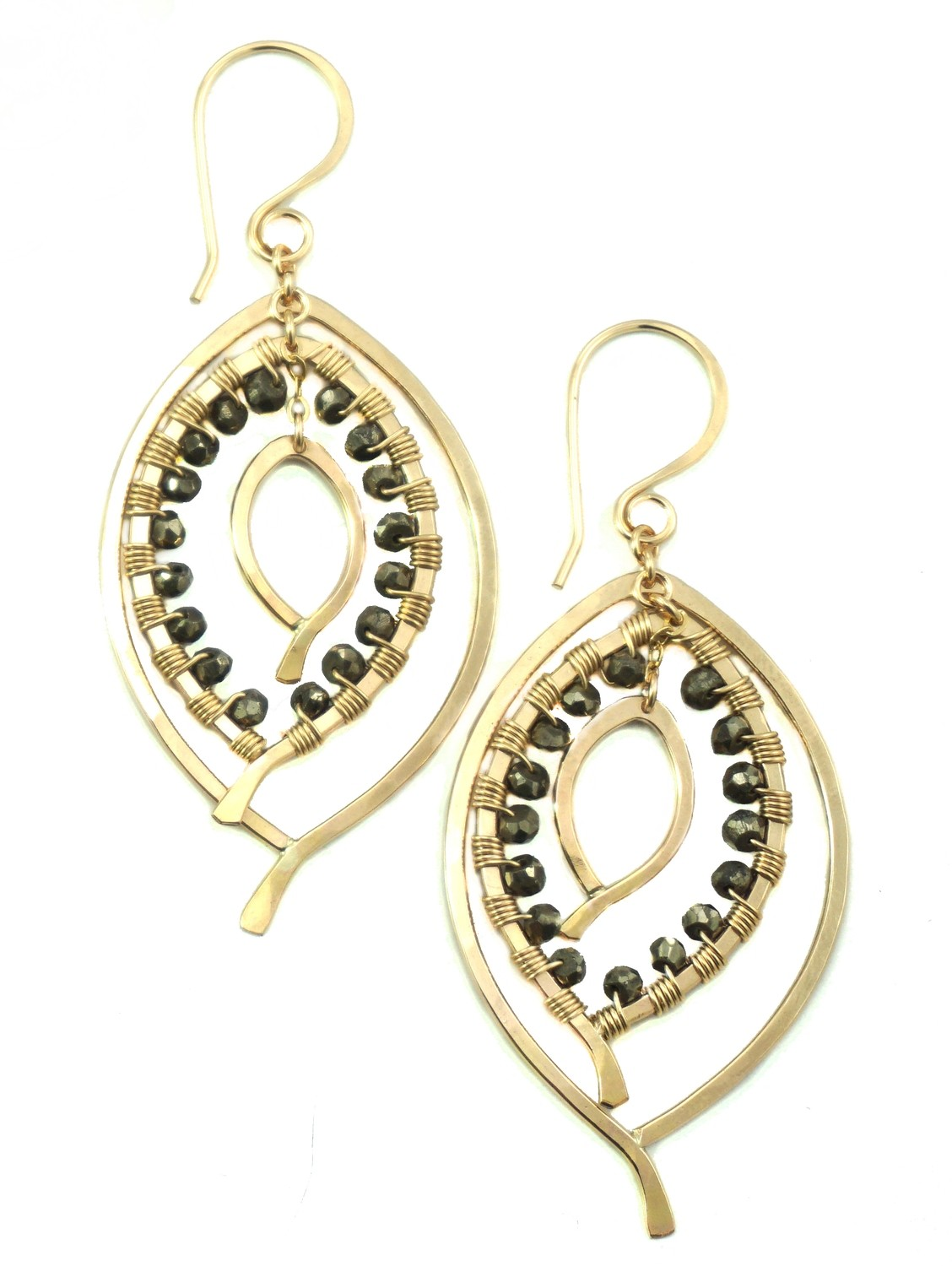 Triple Leaf Earring Wrapped SMALL- YGF