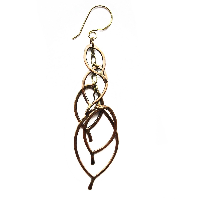 Leaf Cluster Earrings - Bronze