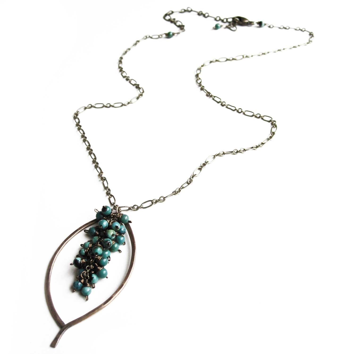 Leaf Chain Necklace - Bronze