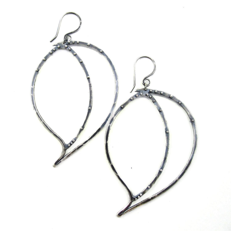 Leaf Ball Earrings - Silver