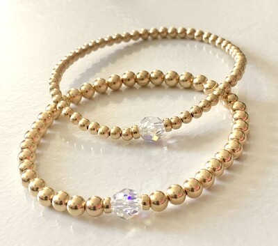 Gold Beaded Bracelet w/ Swarovski AB Crystal