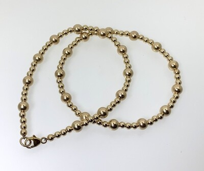 Gold Beaded Bracelet 3mm & 5mm