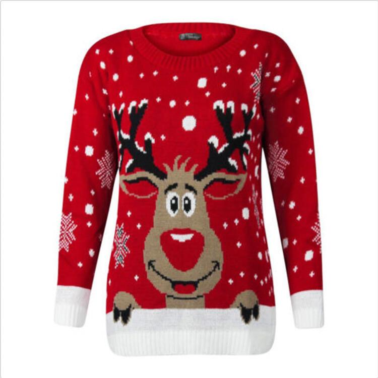 Christmas sweater similing deer Large