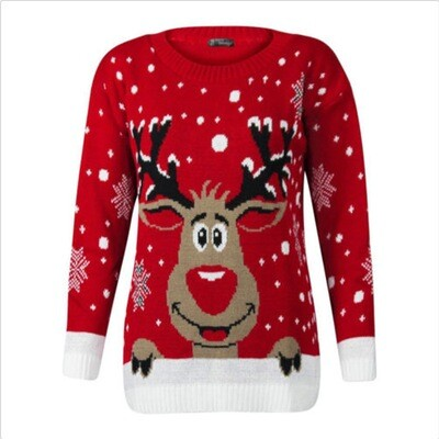 Christmas sweater similing deer Size: Small