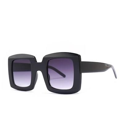 Unisex Square Sunglasses Black Gray