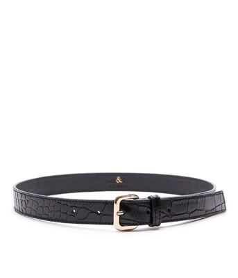Bell & Fox ERIN Embossed Leather Belt Black Shiny Croc