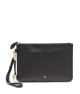 Bell & Fox MILA Wristlet Clutch Black Leather