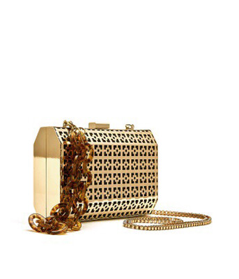 Bell & Fox SAMIA Geometric Metal Clutch Gold