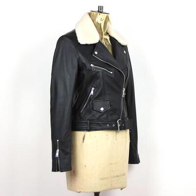 LAB faux Fur Collar Leather Jacket Black