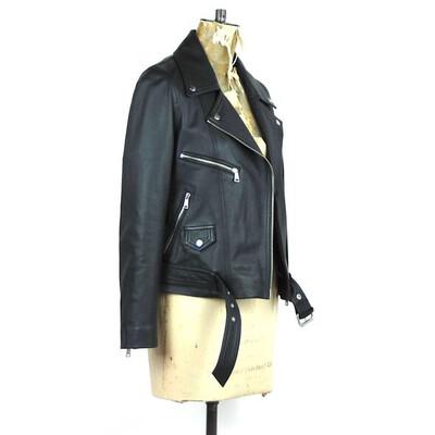 LAB Boyfriend Leather Biker Jacket Black