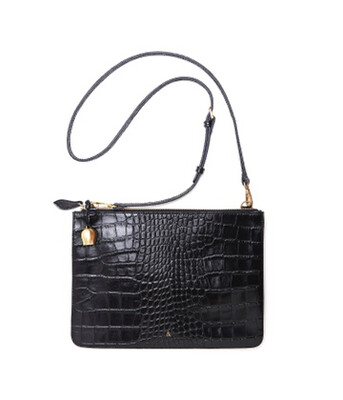 Bell & Fox GIA oversized Clutch/cross Body Bag  - Black Croc