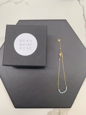 Gold Plated Milky Aquamarine Beaded Bar Bracelet