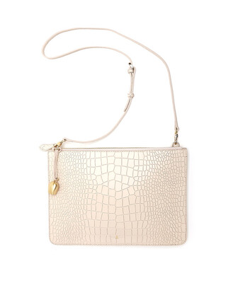 Bell & Fox GIA oversized Clutch / Crossbody Bag - Croc Powder