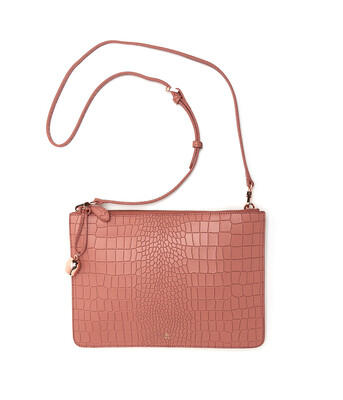 Bell & Fox GIA Oversized Clutch / Crossbody Bag - Croc Terracotta