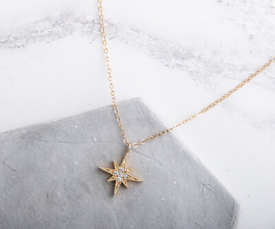 """Claire Hill Gold & Cubic Zirconia North Star Pointed Pendant Necklace 16"""""""