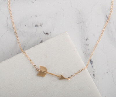 "Claire Hill Arrow Gold Charm Necklace 16"""
