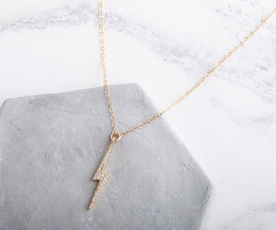 """Claire Hill Gold & Cubic Zirconia Large Lightning Bolt Necklace 18"""""""