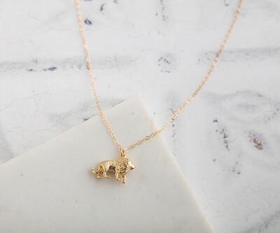 """Claire Hill Lion Gold Charm Necklace 18"""""""