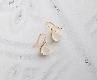 Claire Hill Milky White & Gold Teardrop Earrings