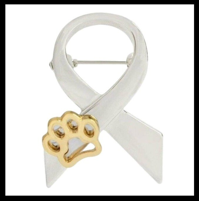 'RIBBON AND PAW' CHARITY PIN BADGE ~ BUY 4 PINS & GET 1 FREE ~ SILVER COLOUR