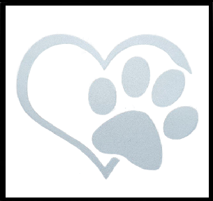 SILVER 'HEART AND PAW' CAR WINDOW STICKER - WILDLIFE CONSERVATION