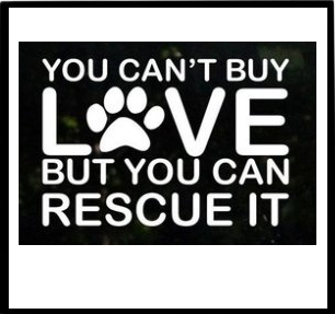 'YOU CAN'T BUY LOVE BUT YOU CAN RESCUE IT ' CAR WINDOW STICKER
