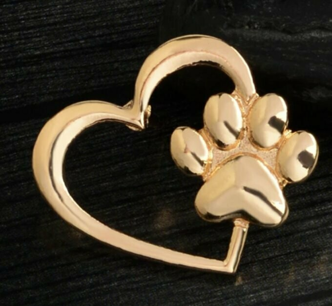 GOLD HEART AND PAW BROOCH