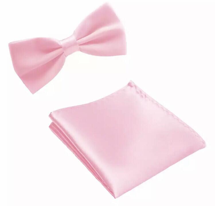 Fliege & Einstecktuch glanz rosa