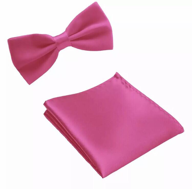 Fliege & Einstecktuch glanz pink