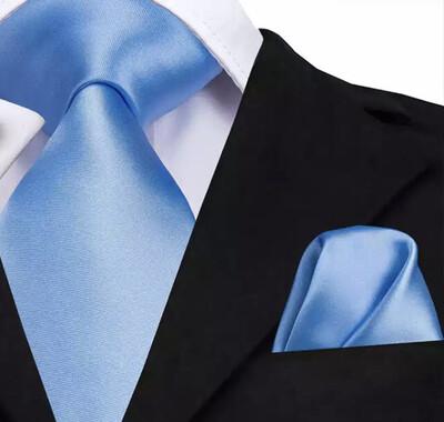 Krawatte & Einstecktuch breit hellblau
