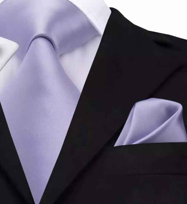 Krawatte & Einstecktuch breit lila