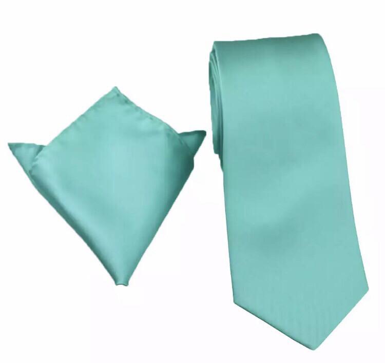 Krawatte & Einstecktuch breit türkis