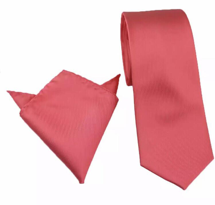 Krawatte & Einstecktuch breit dunkles coral