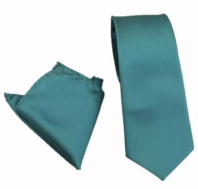 Krawatte breit & Einstecktuch petrol