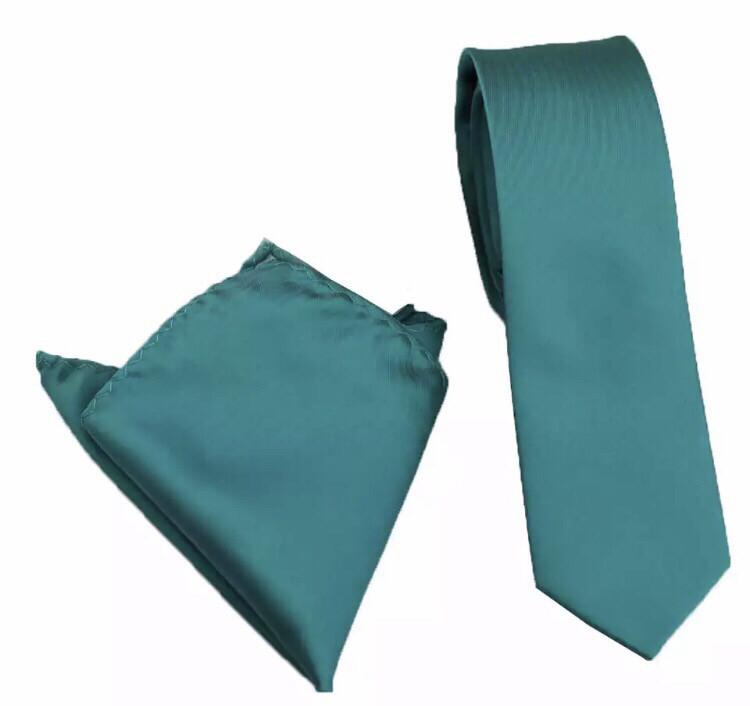 Krawatte schmal & Einstecktuch petrol