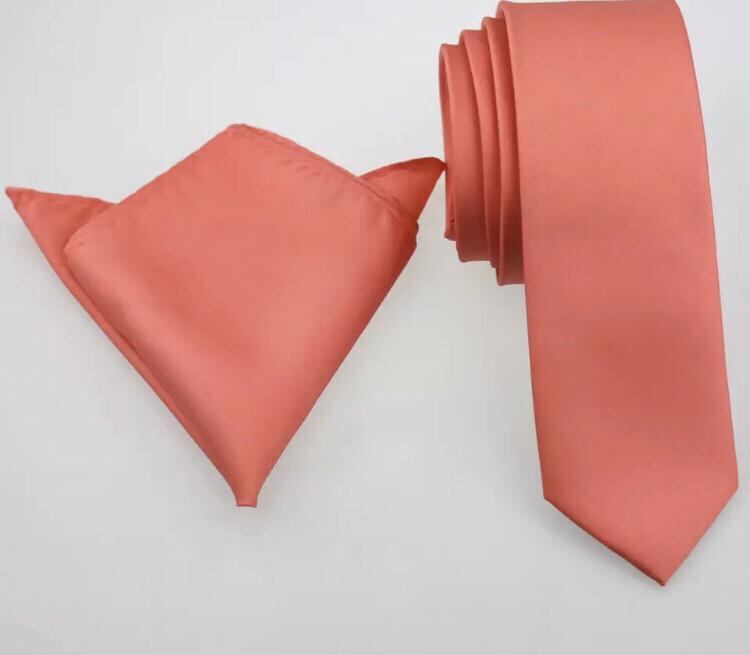 Krawatte schmal & Einstecktuch coral