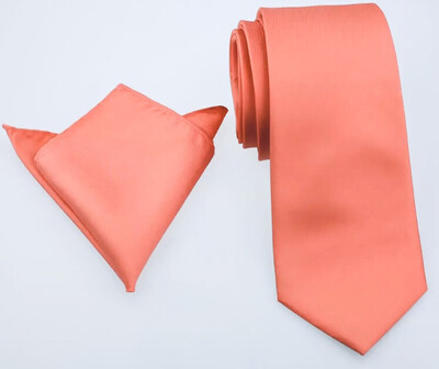 Krawatte breit & Einstecktuch coral