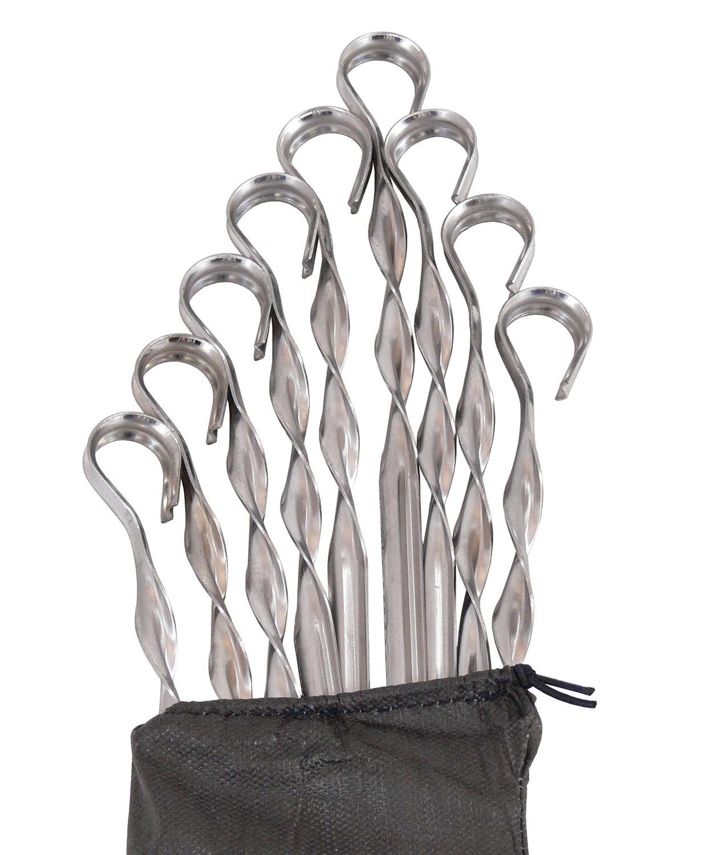 Комплект шампуров из нержавеющей стали 57 см, 9 штук