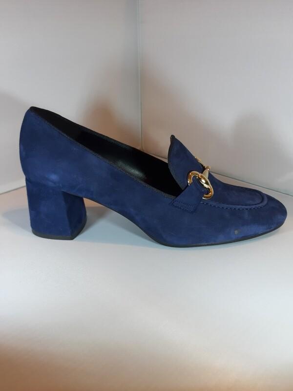 EXIT | Mocassin blauw met blokhak