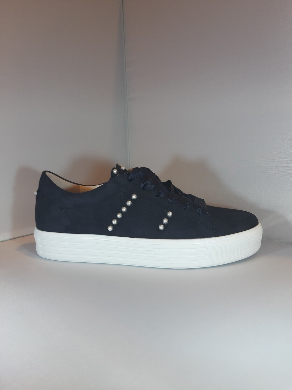Kennel & Schmenger | Sneakers blauw daim met witte zool en parels