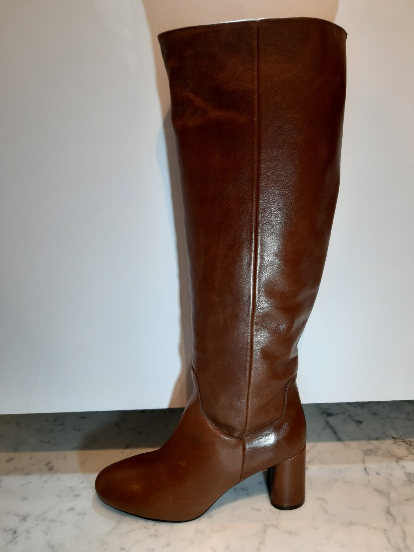 EXIT | Laars bruin leder met blokhak