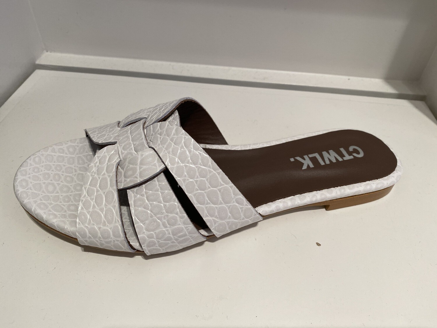 Catwalk / slipper wit coco leder