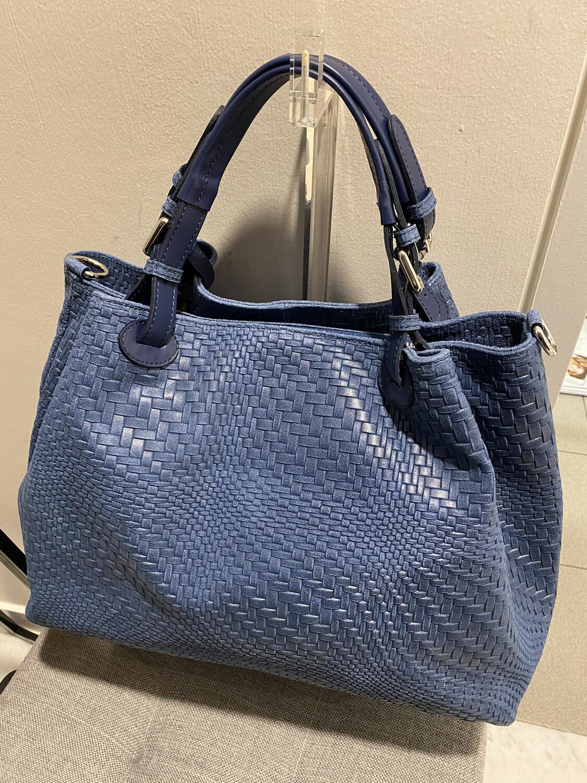mondieux madame / jeansblauw gevlochten handtas in leder