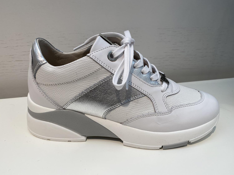 DL Sport / sneaker wit leder met zilver
